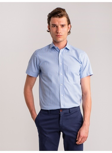 Dufy Mavı Karelı Pamuklu Kısa Kol Erkek Gömlek - Regular Fıt Mavi
